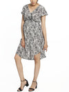 Maternity Drawstring Nursing Short Sleeve Dress - Lace Print