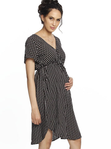 Button Front Nursing Cotton Shirt Dress - Black & White Spots