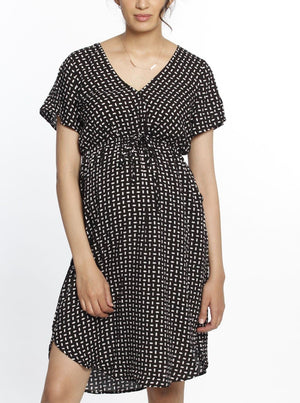 Maternity Drawstring Nursing Short Sleeve Dress - Rice Print