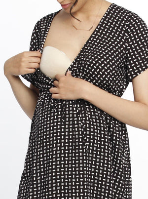 Maternity Drawstring Nursing Short Sleeve Dress- Rice Print