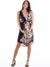 Maternity Bella Sleeveless Dress - Black Floral party dress