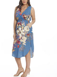 Maternity Bella Sleeveless Dress - Blue Floral