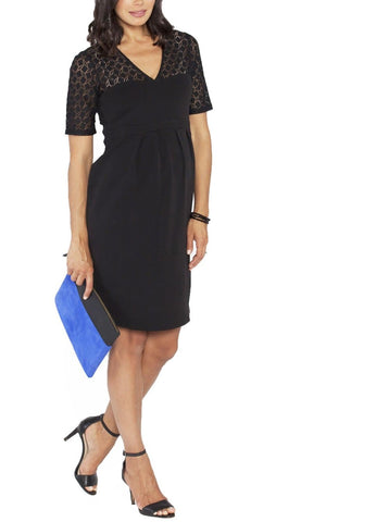 Maternity Crossover Neckline Tie Back Jersey Dress - Dark Navy