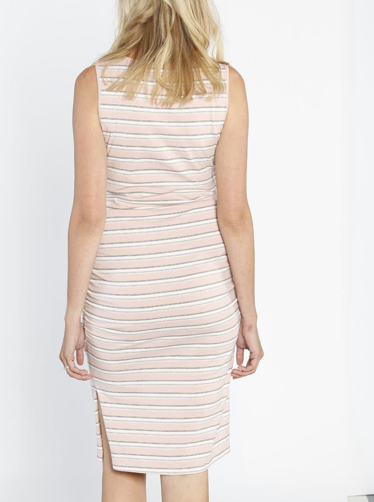 Maternity Classic Fitted Casual Dress - Pink Stripes - Angel Maternity - Maternity clothes - shop online