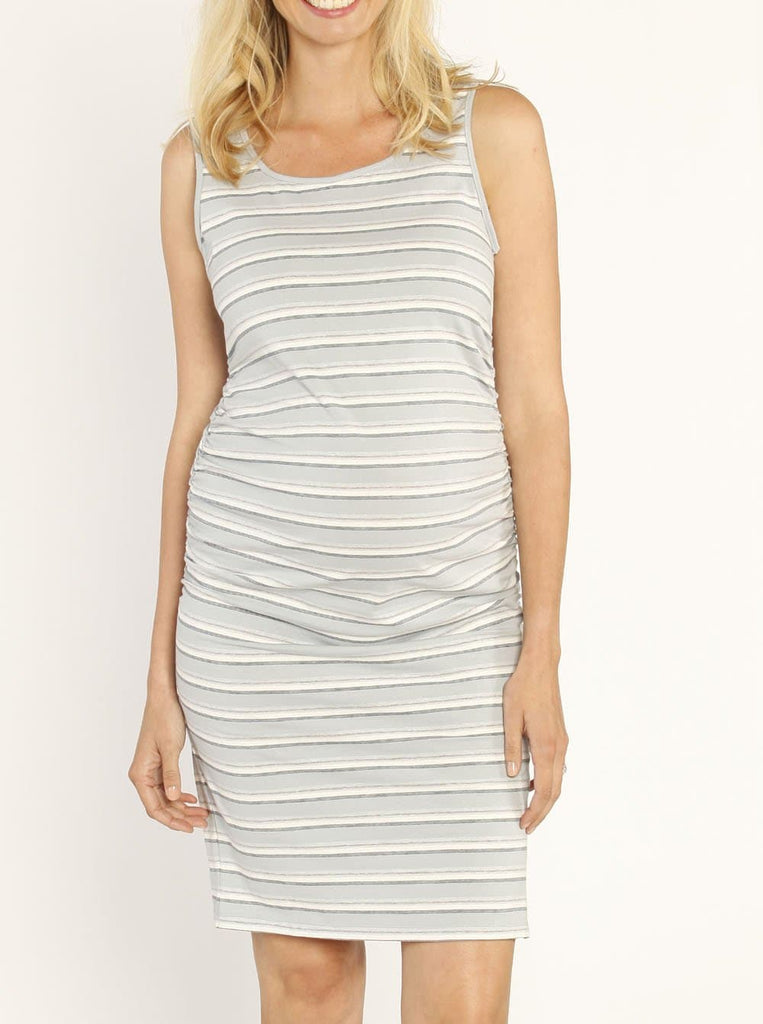 Maternity Classic Fitted Casual Dress - Baby Blue Stripes - Angel Maternity - Maternity clothes - shop online