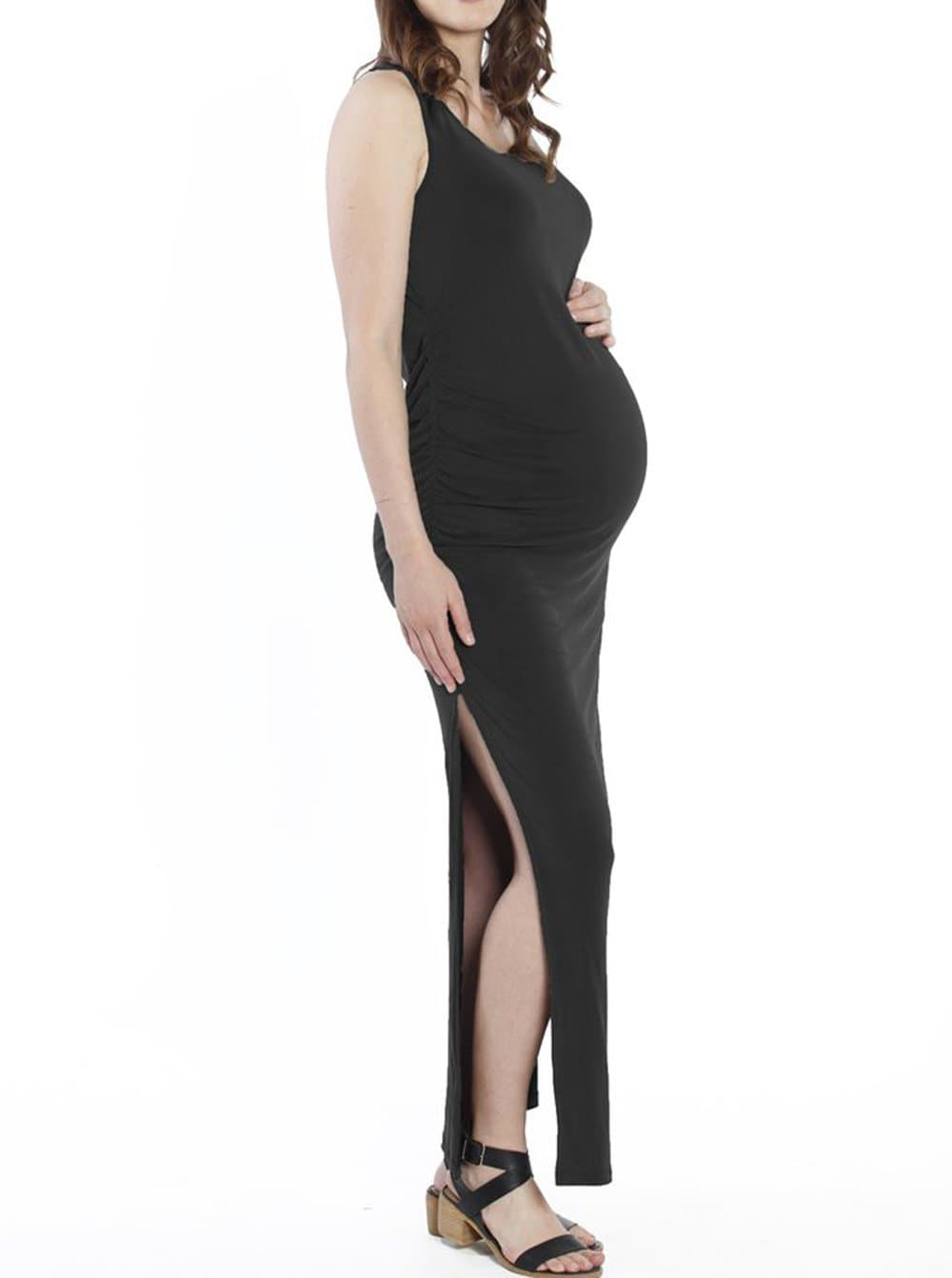 Maternity Classic Fitted Maxi Long Dress - Black - Angel Maternity - Maternity clothes - shop online