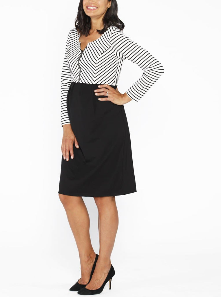 Maternity Stripe Work Dress with Zipper Details - Black - Angel Maternity bargain online store