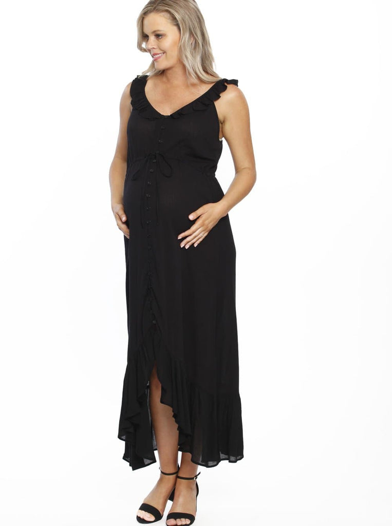 abd8bcc1d5dc Maxi Ruffle Maternity Dress - Black – Angel Maternity