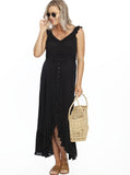 Maxi Ruffle Maternity Dress - Black maternity dress