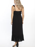 Maxi Ruffle Maternity Dress - Black
