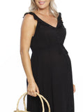 Maxi Ruffle Maternity Dress - Black ruffle dress