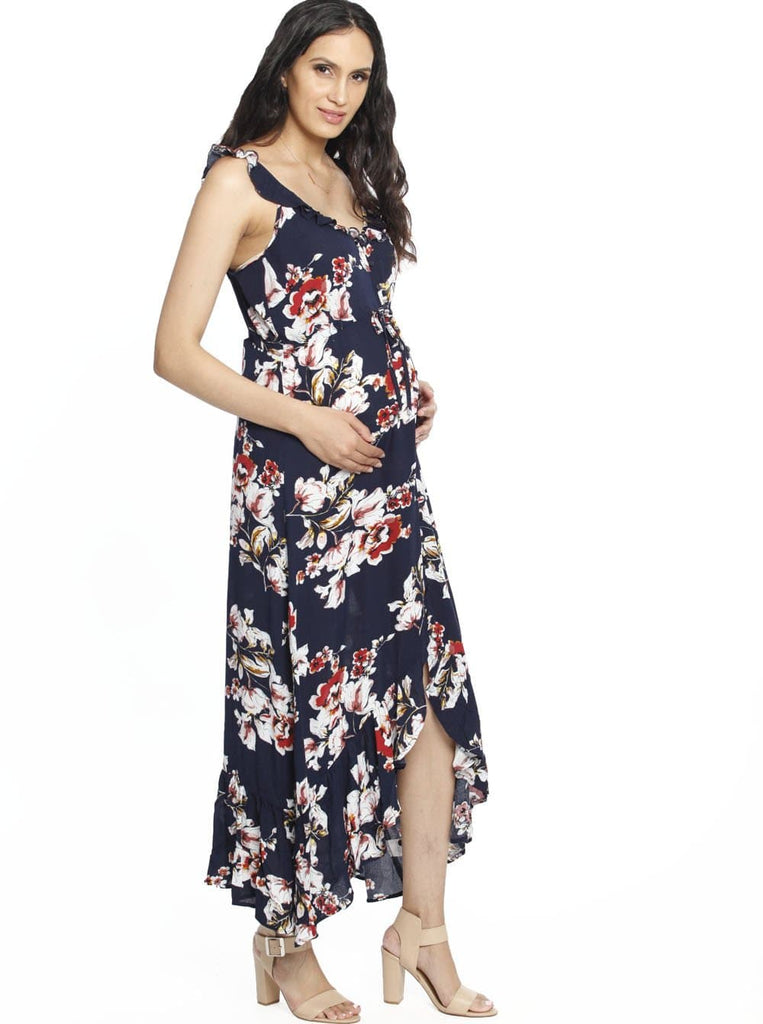 Maxi Ruffle Maternity Dress - Navy Floral
