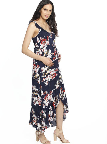 Busy Mama Nursing Maxi Dress in Dark Navy Stripes
