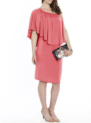 4 Ways Off Shoulder Maternity Dress - Pink - Angel Maternity - Maternity clothes - shop online
