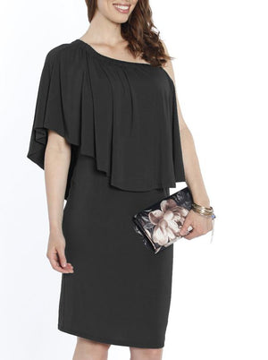 4 Ways Off Shoulder Maternity Dress - Black