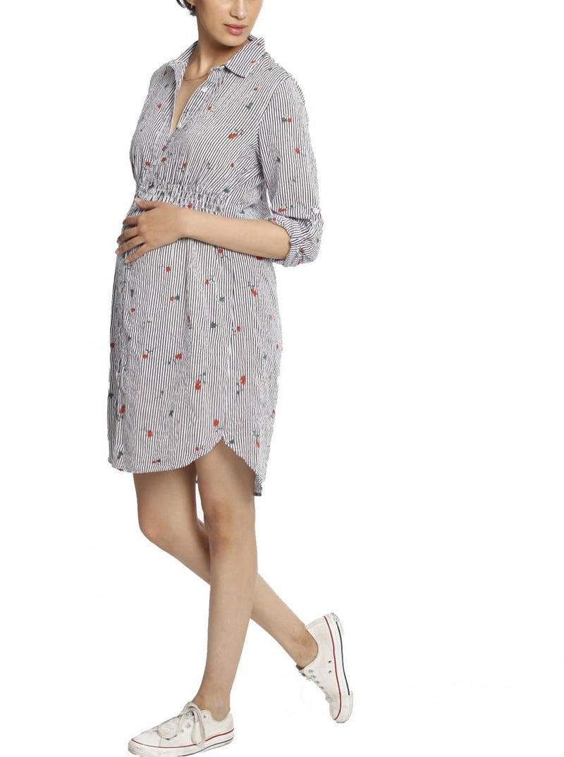 Button Front Nursing Cotton Shirt Dress - Flowers & Stripes breastfeeding dress