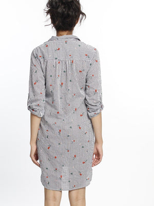 Button Front Nursing Cotton Shirt Dress - Flowers & Stripes