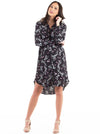 Button Front Nursing Shirt Dress - Floral