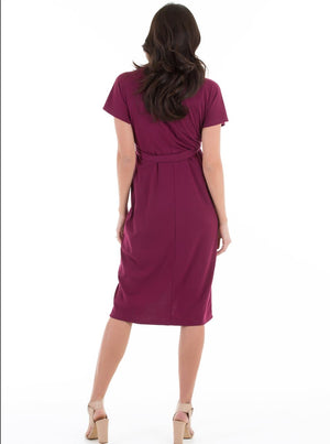 Wrap Maternity & Nursing Dress in Burgundy Red
