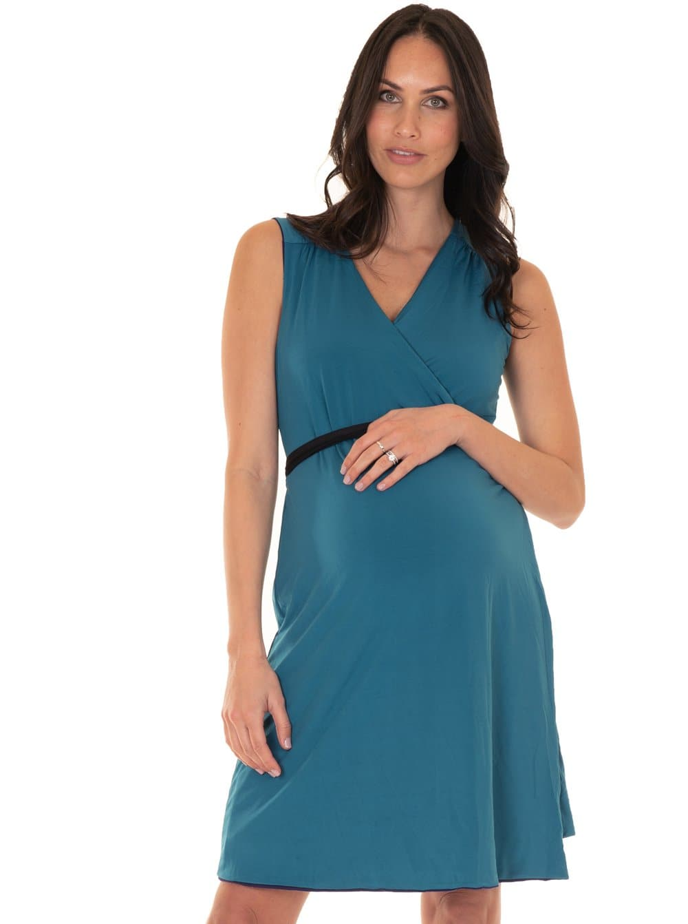 teal maternity dress