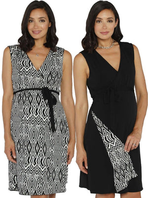 Maternity Reversible Wrap Nursing Dress - Black & Tribal Print - Angel Maternity - Maternity clothes - shop online