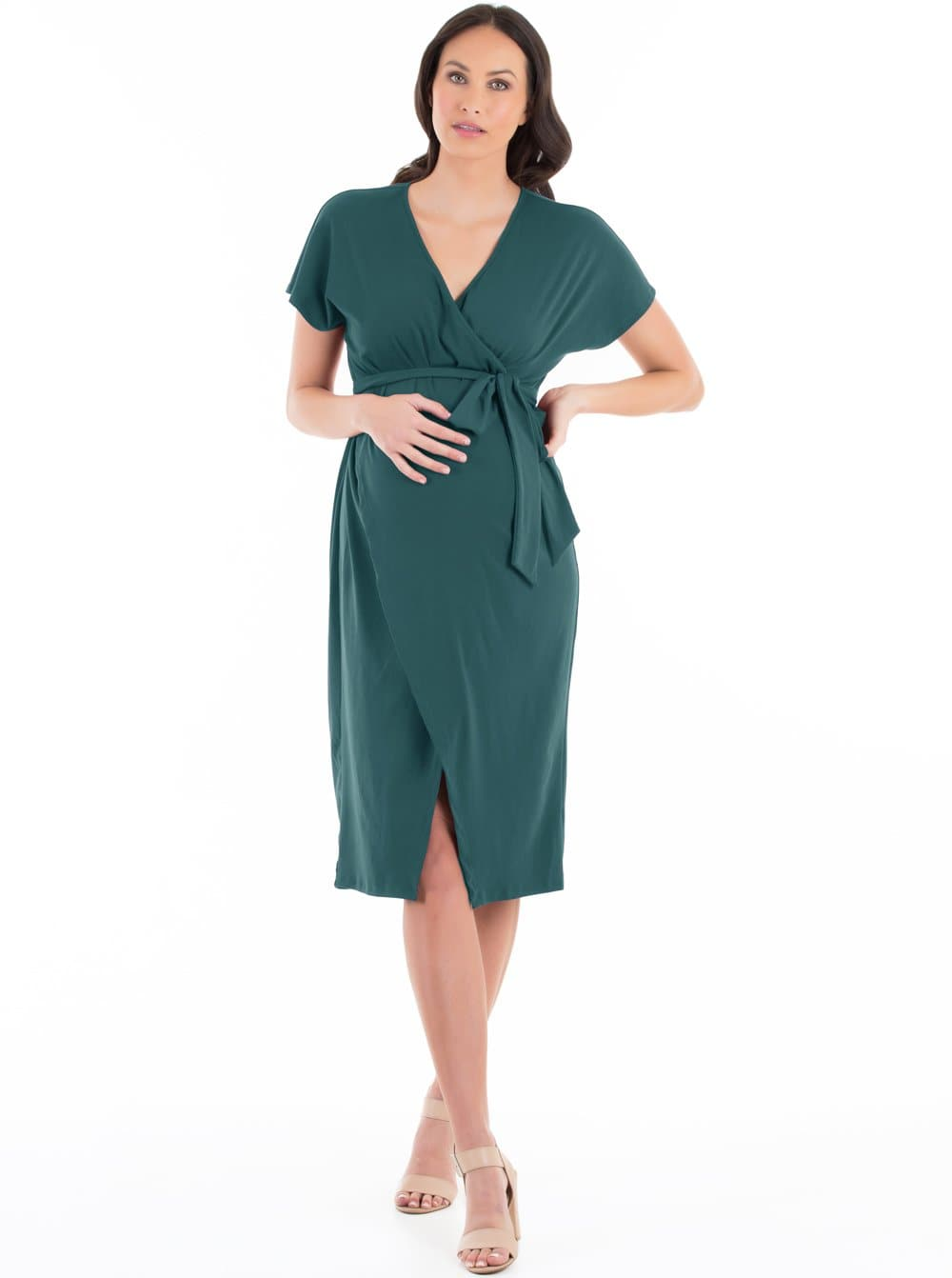 maternity dress in teal; nursing work dress