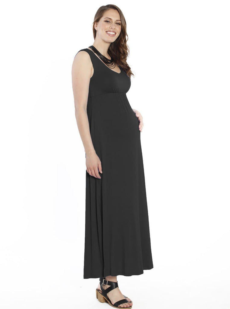 Maternity Ultimate Comfortable Maxi Dress - Black - Angel Maternity - Maternity clothes - shop online