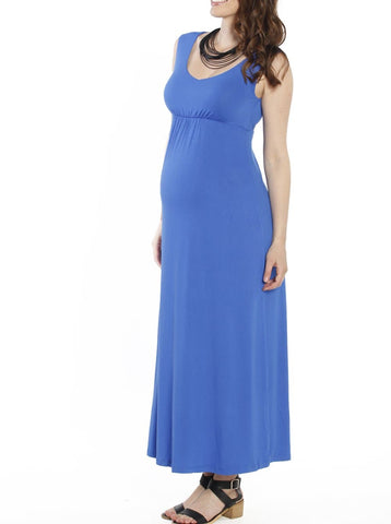 Maternity Tie Back Cap Sleeve Dress - Blue