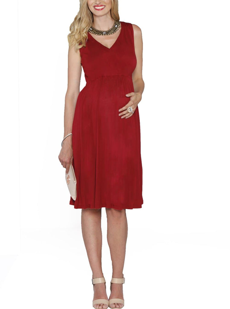 Maternity Ultimate Comfortable Knee Length Dress - Red