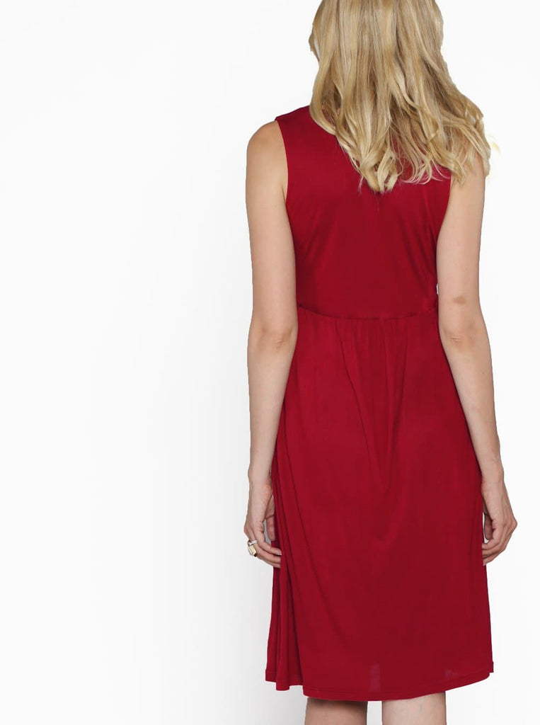 Maternity Ultimate Comfortable Knee Length Dress - Red back