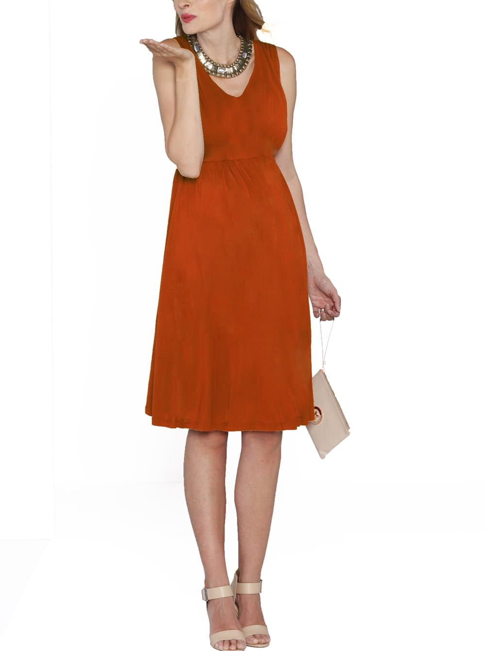 Maternity Ultimate Comfortable Knee Length Dress - Dark Tangerine - Angel Maternity - Maternity clothes - shop online