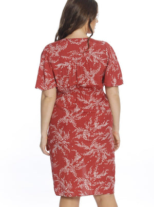 Maternity Drawstring Nursing Midi Dress - Red Leaf Print