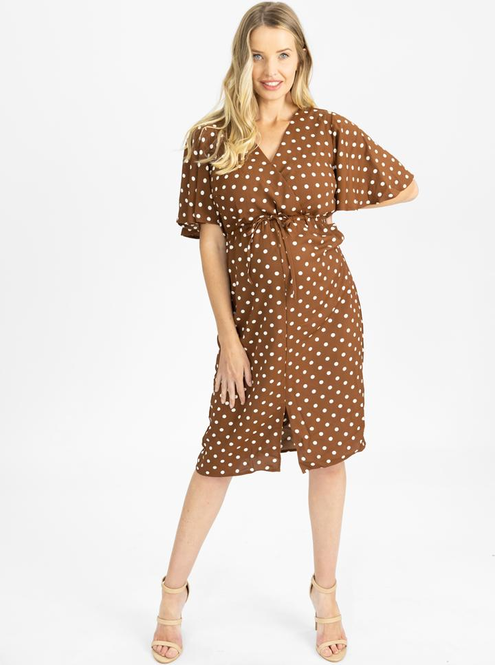 Maternity Drawstring Nursing Midi Dress - Brown Polkadots