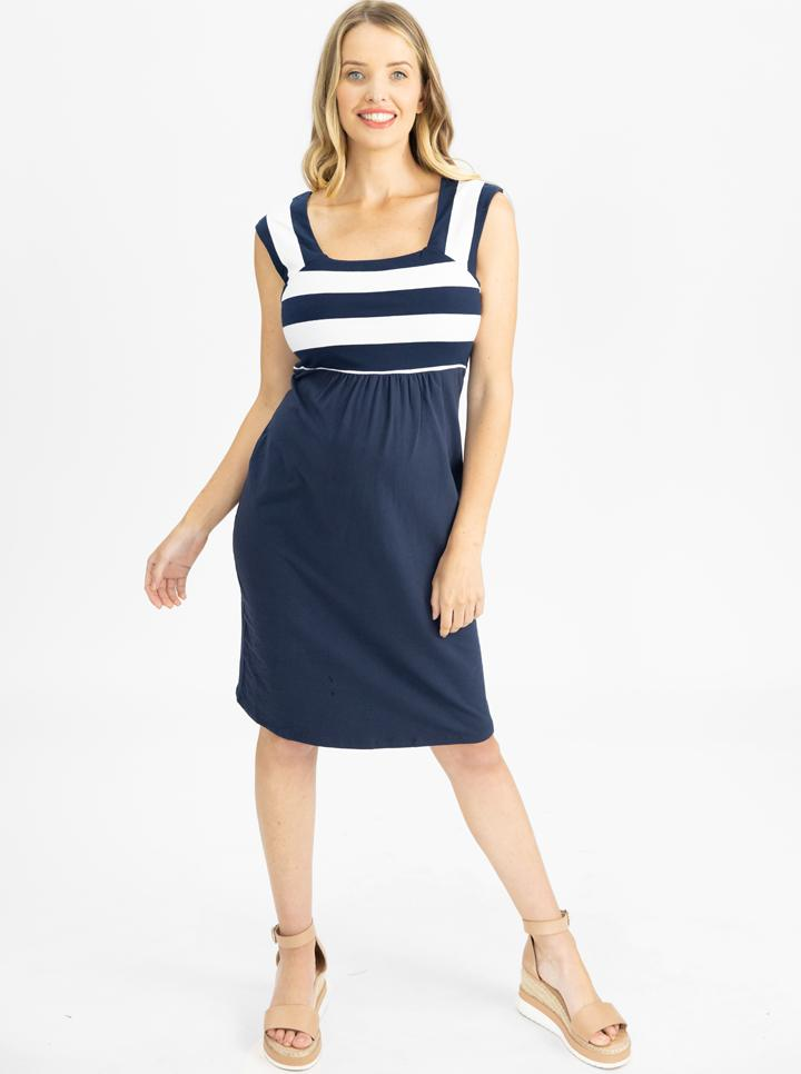 Maternity Fitted Stripe Cotton Dress - Blue Stripe main