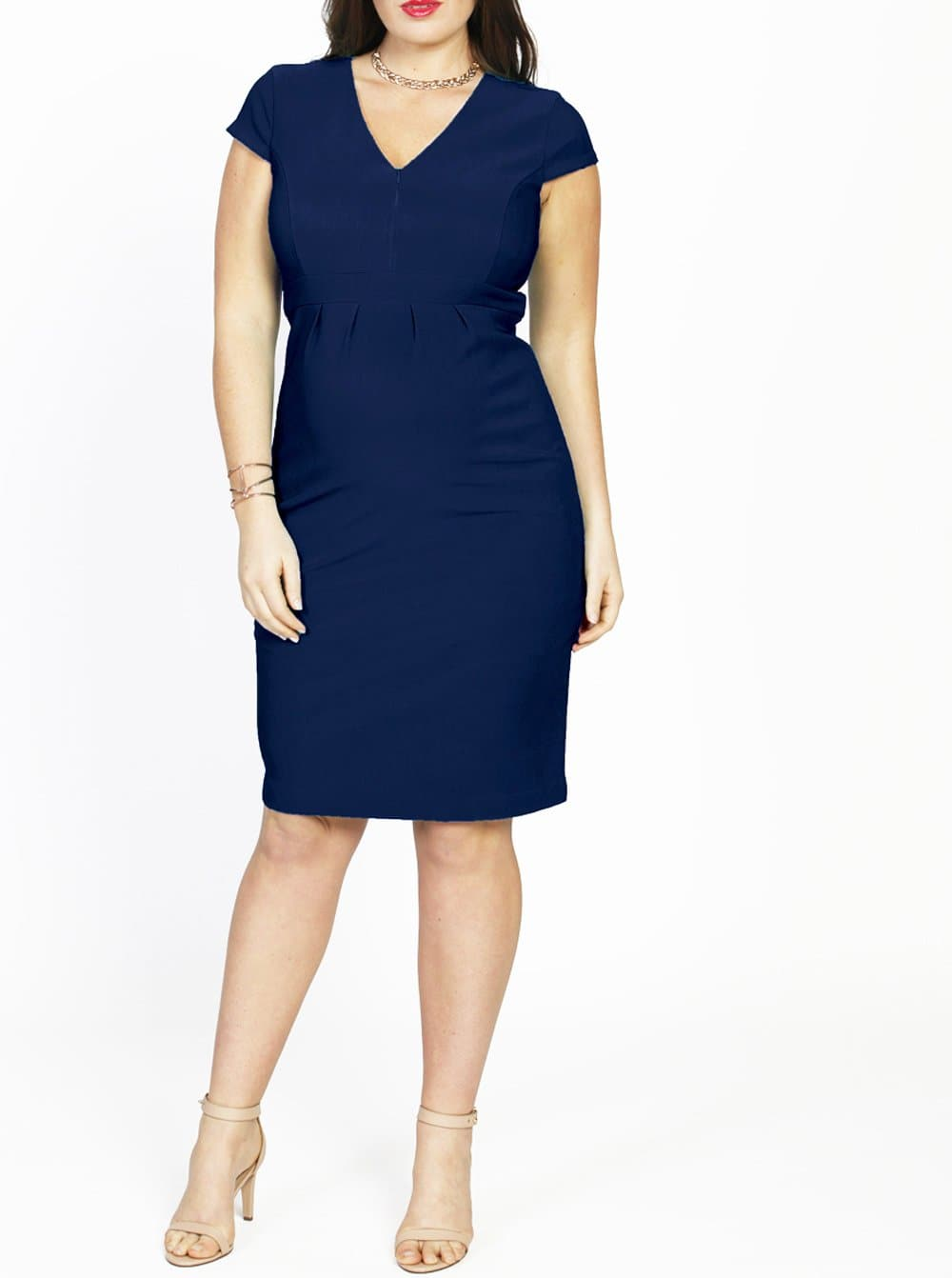 Maternity Zipper Nursing Party Dress with Zipper Opening - Navy - Angel Maternity - Maternity clothes - shop online
