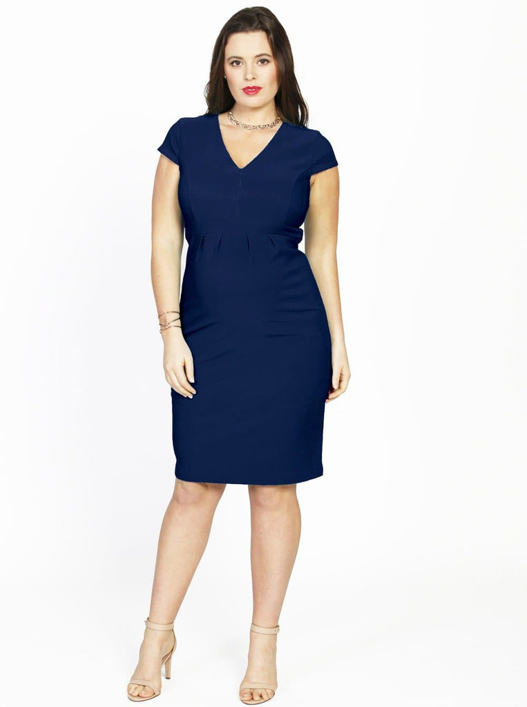 Maternity fitted work dress with nursing zipper opening