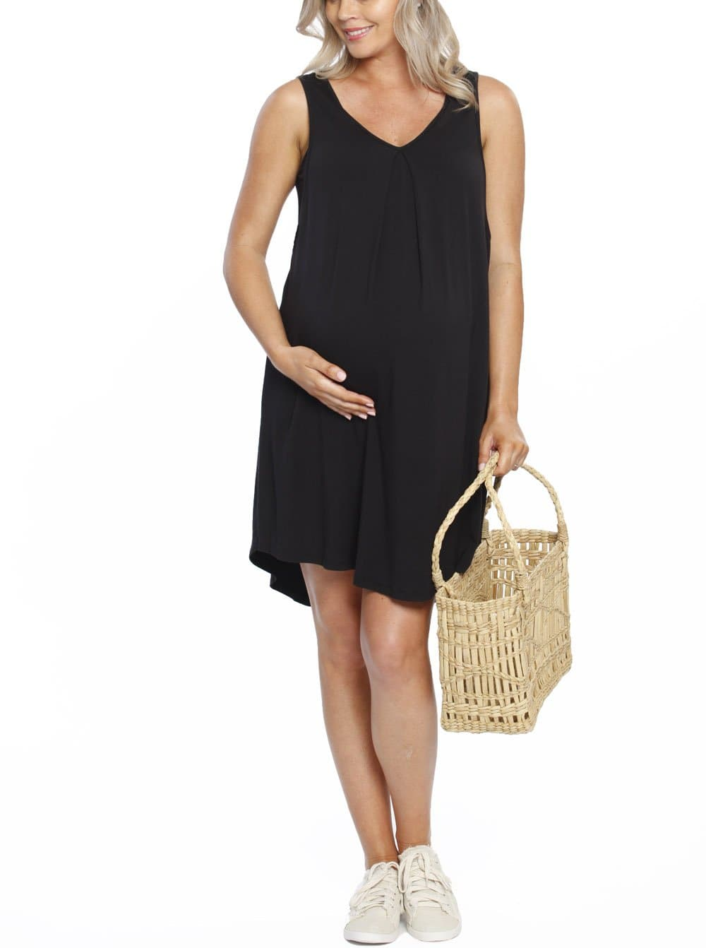 Maternity Swing Dress with Nursing Opening in Black - Australia Maternity online store