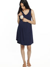 Maternity Swing Dress with Nursing Opening in Navy nursing dress