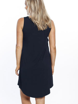 Maternity Swing Dress with Nursing Opening in Navy