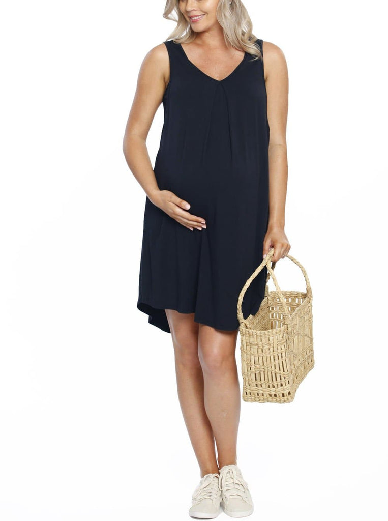 Maternity Swing Dress with Nursing Opening in Navy maternity online store
