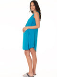 Maternity Swing Dress with Nursing Opening in Blue maternity dress