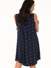 Maternity Swing Nightie Dress with Nursing Opening in Cross Navy