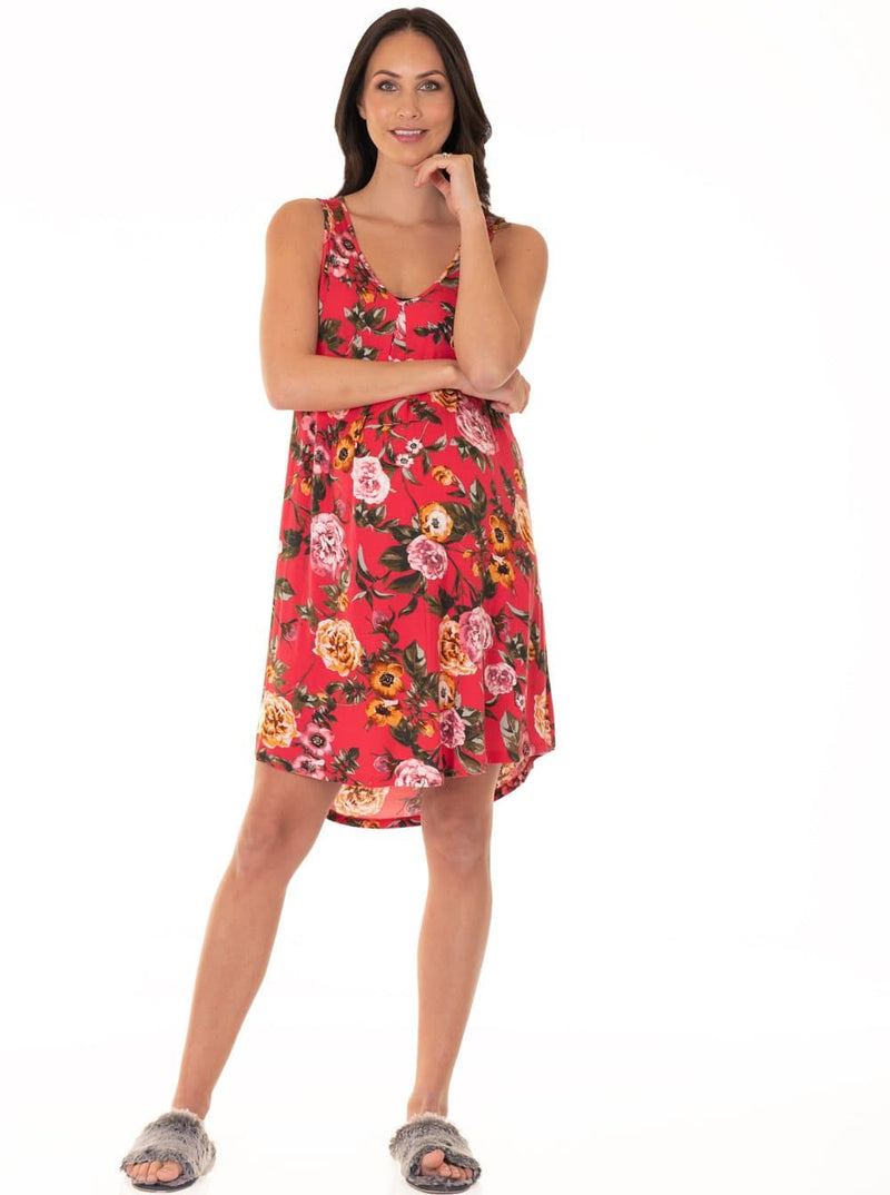 Maternity Swing Dress with Nursing Opening in Red Floral