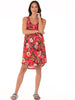 Maternity Swing Dress with Nursing Opening in Red Floral maternity sleepwear