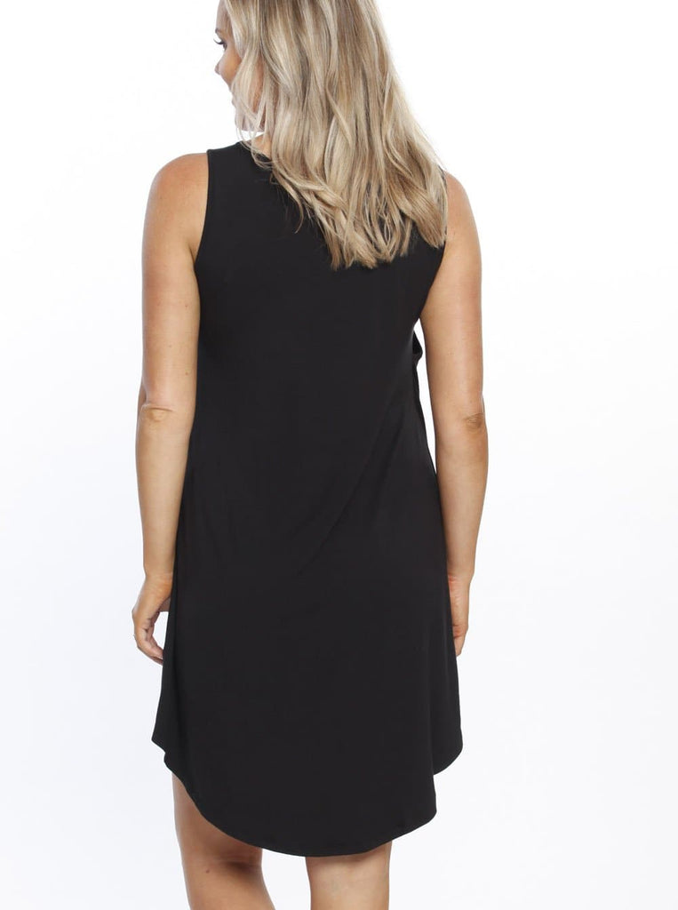 Maternity Swing Dress with Nursing Opening in Black back - Castle Hill store