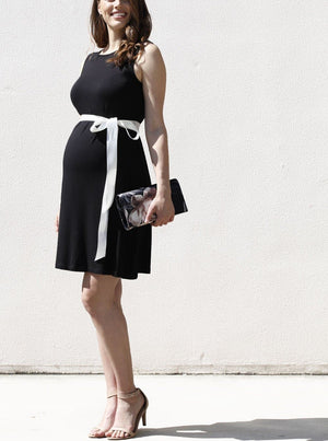 Maternity Shift Party Bow Details Dress - Black outdoor