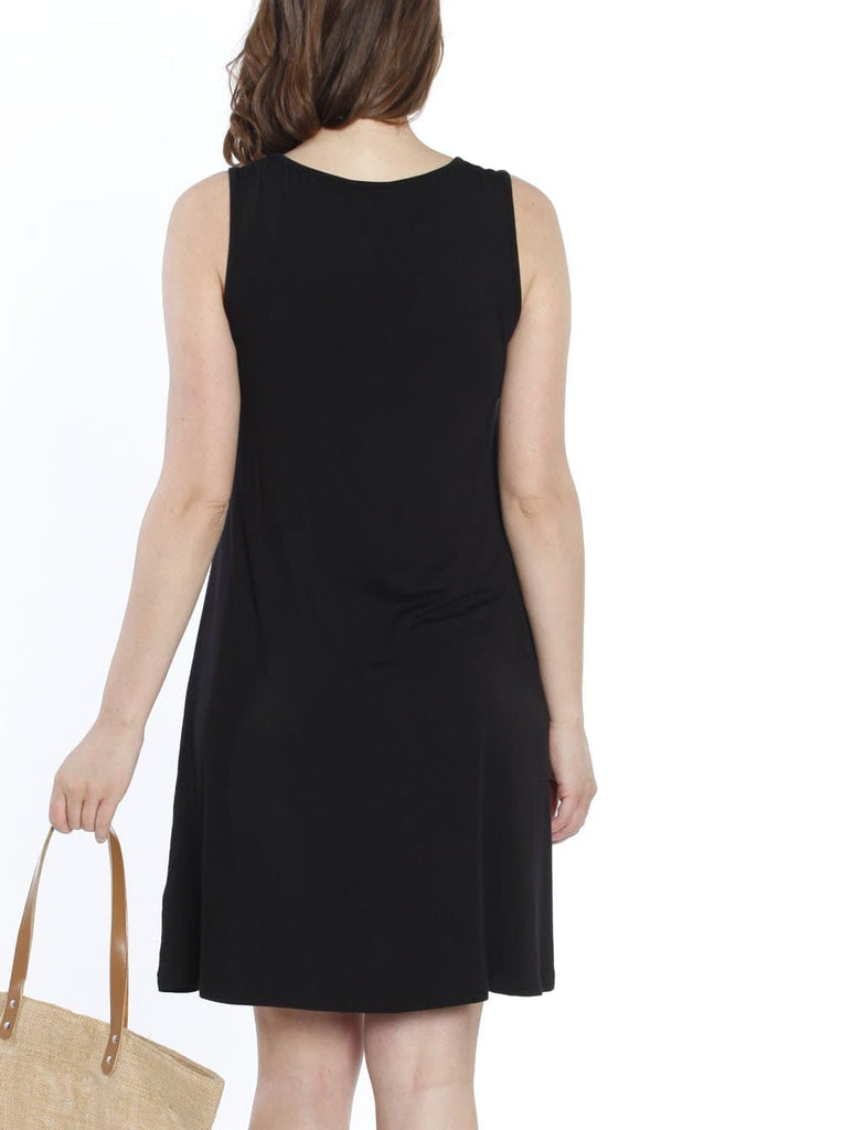 Maternity Shift Party Bow Details Dress - Black back