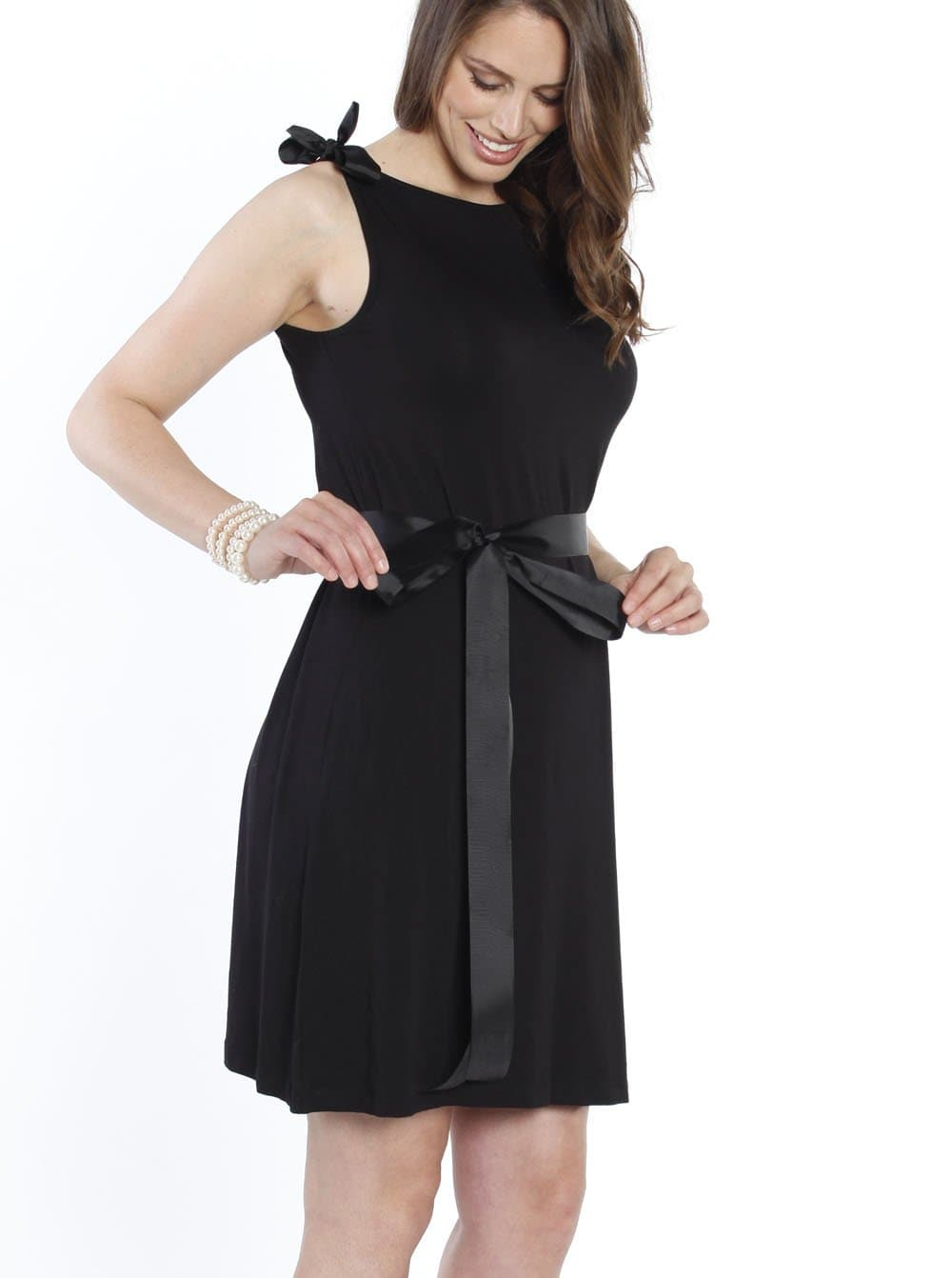 Maternity Shift Party Bow Details Dress - Black tie