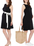 Maternity Shift Party Bow Details Dress - Black duo