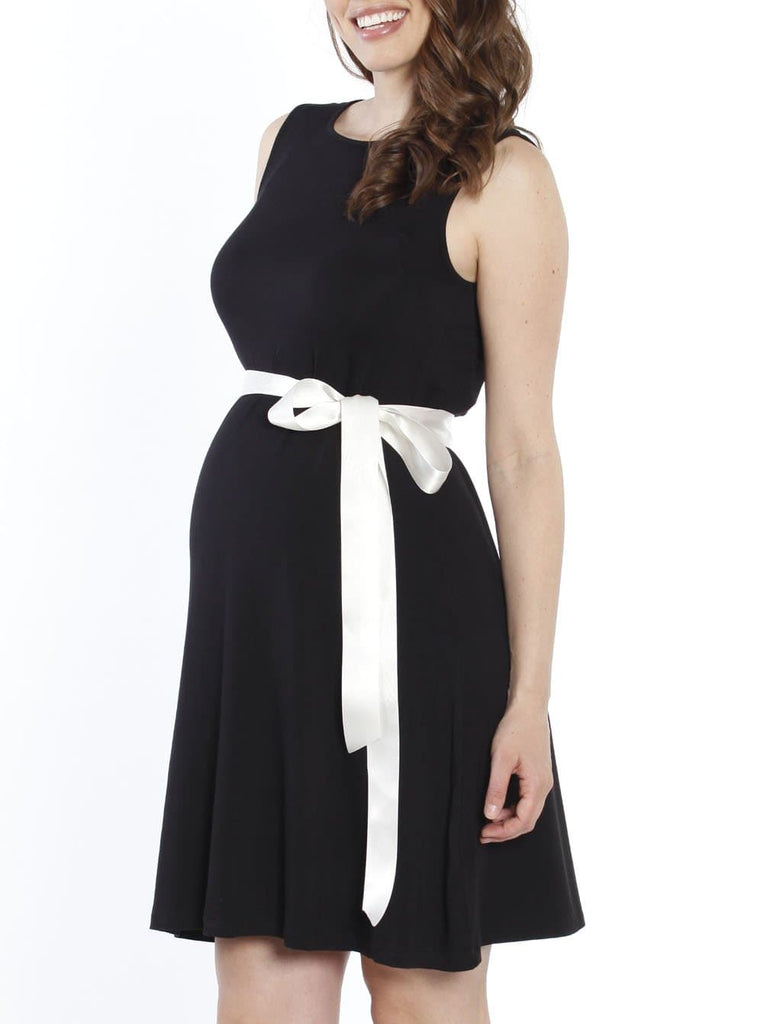 Maternity Shift Party Bow Details Dress - Black white